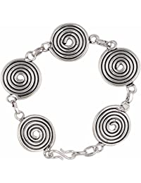 Parinaaz Ethnic Designer Oxidised Silver Plated Adjustable German Silver Chain Bracelet For Girls And Women