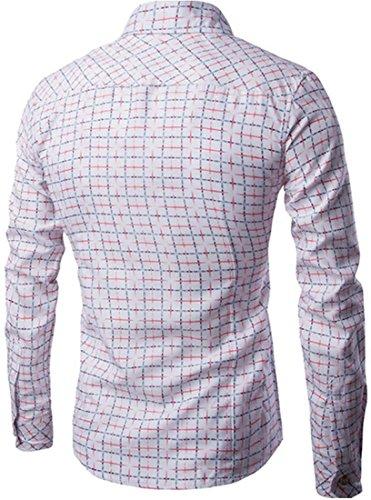 jeansian Herren Freizeit Hemden Classic Plaid Printing Long Sleeved Slim Fit Shirt Dress Shirts Top 84L9 White