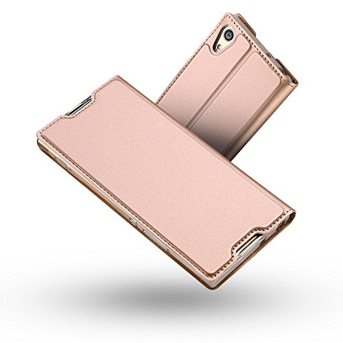 Radoo Sony Xperia XA1 Hülle, Premium PU Leder Handyhülle Brieftasche-Stil Magnetisch Klapphülle Etui Brieftasche Hülle Schutzhülle Tasche für Sony Xperia XA1 (Rose Gold)