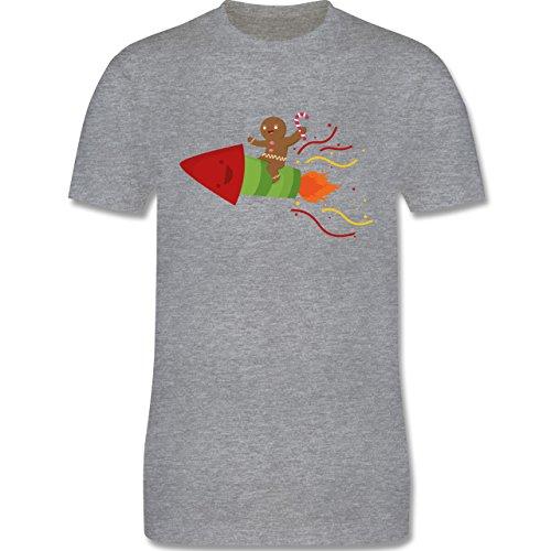 Weihnachten & Silvester - Lebkuchenmann lachend auf Rakete - Herren Premium T-Shirt Grau Meliert