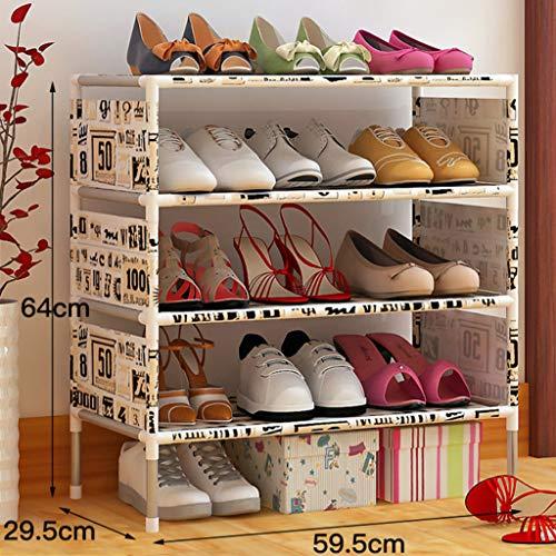 4-tier Vliesstoff Schuhregal,platzeinsparung Kleiderschrank Eingangsbereich Lagerung Shoe Rack Stabile Langlebige-b 59.5x29.5x64cm(23x12x25inch) -