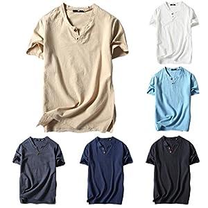 UJUNAOR Männer Sommer Lässiges Hemd aus Leinen und Baumwolle Kurzarm T-Shirt mit V-Ausschnitt Top Bluse Tee