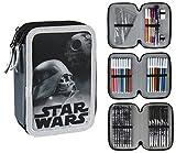 Star Wars 2700-199 Astuccio Triplo, 3 Scomparti, Pennarelli, Pastelli, Accessori Scuola 42 pezzi, Poliestere, Multicolore immagine