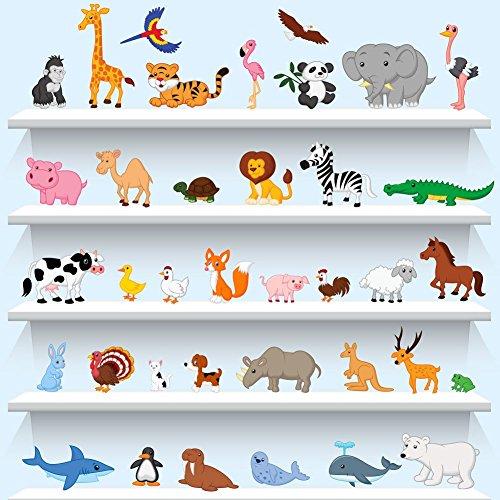 Wall4stickers Tiere Wandaufkleber Lehrreich Lernen Kinderzimmer Abziehbild Kinder Kunst Vögel Abziehbilder Wandbilder Tapeten Grafik