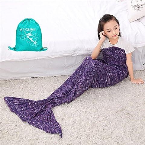 Meerjungfrau Schwanz Decke, aigumi alle Jahreszeiten Mermaid Schlafsack Decke ; Crochet Handwerk Warm Sofa Wohnzimmer Decke für Kinder 140 * 70 cm (dark violet-2)