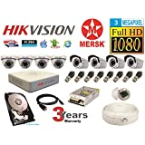 Hikvision 8 Ch Turbo HD Dvr & Mersk Full HD (3MP) CCTV Camera Kit with All Required Accessories (2 TB Hard Disk) Note : No Installation Service