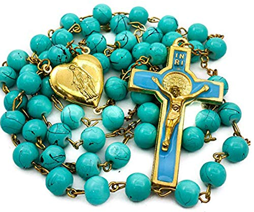 a2fe63e8640e Nazareth Store Saint Benedict Rosary Turquoise Glass Beads St San Benito  Cross NR Medal Catholic Necklace