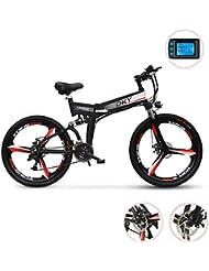 W&TT 26 Pulgadas Bicicleta de montaña eléctrica, Adulto 48V 250W Plegable E- Bike cercanías
