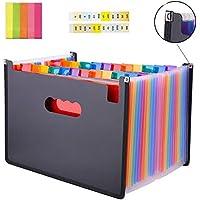 Carpeta de archivos desplegable SAIYU Organizador de archivos A4 24 Bolsillos Documentos Portapapeles Carpeta de archivos de acordeón, Refuerzo de bordes