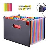 SAIYU Expanding Dateiordner Flexible A4 Datei Organizer 24 Taschen Dokumente Brieftasche Inhaber Papierkram Ablage Akkordeon Dateiordner (Multi-Color, Randverstärkung, wasserdicht, Farbe Etiketten und Notizen)