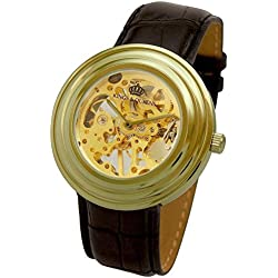 Kings and Queens Mens Mechanical Skeleton Watch Gold Bezel Black Leather Strap KQ-BKGD