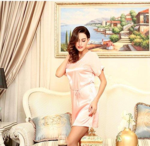 LJ&L di seta di alta qualità signora pigiama primavera e l'estate di seta pizzo camicia da notte / gonna vasca sezione sottile,pink,one size Pink