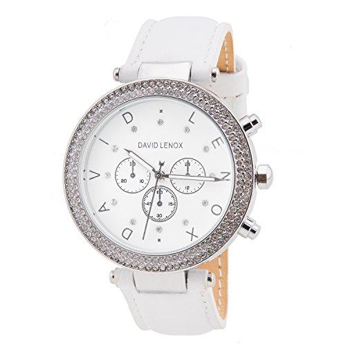 David Lenox Silber Ton Damen Uhr mit weißem Lederband Style dl0236