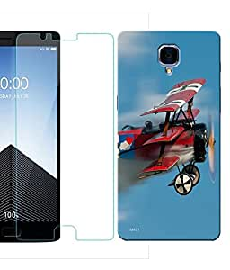 Indiashopers Combo of Flying Glider HD UV Printed Mobile Back Cover and Tempered Glass For OnePlus 3