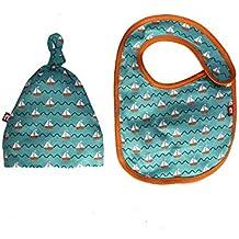 Nino Bambino 100% Pure Organic Cotton Blue Winter Cap & Bib Set For Baby Boys & Girls