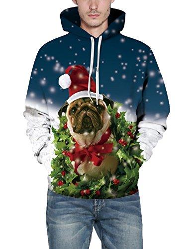 KamiraCoco Herren Pullover Slim Fit Kapuzenpullover 3D Druck Hoodie Weihnachten Langram Sweatshirt Kapuzenjacke Ngau Tau