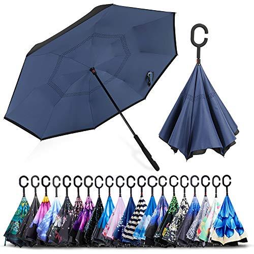 ZOMAKE Paraguas de Doble Capa Invertido, Paraguas Plegable Reversible con Protección contra Rayos UV, Resistencia con Viento, Mango en Forma de C para Mujer Hombre Coche (Azul)
