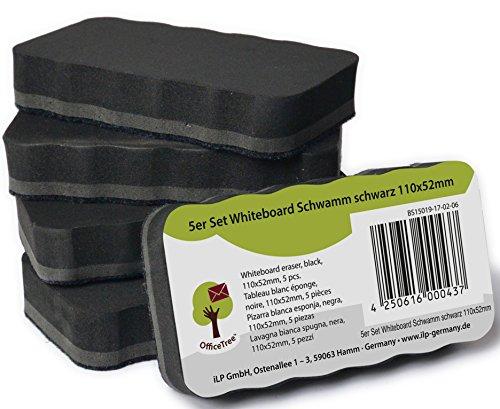 OfficeTree ® 5er-Set Whiteboard-Schwamm - schwarz - magnetisch - reinigt trocken und effektiv - befreit zuverlässig Schrift Zeichnungen an Whiteboard Flipchart Magnet-Pinnwand