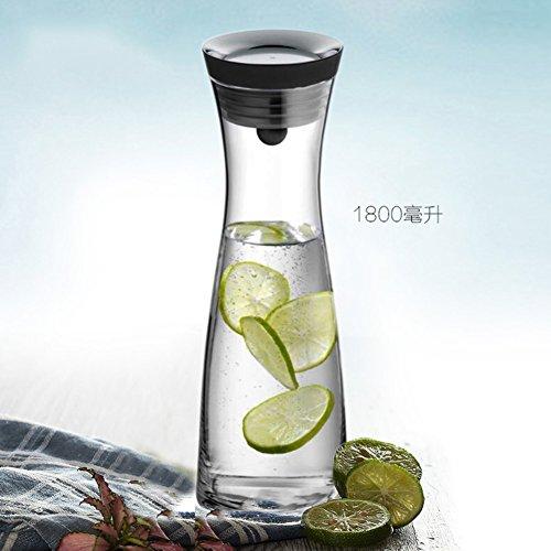 Stahl-flip-deckel (Karaffen Große kapazität Glaskaraffe Hitzebeständig Glas Hausgebrauch Saft Karaffe glas Silikon flip aus rostfreiem stahl-Oberer deckel Wasserkrug-C)