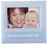 Mud Pie Baby Lil' Buddy Blue Gingham Fabric Photo Frame, Grandma and Me