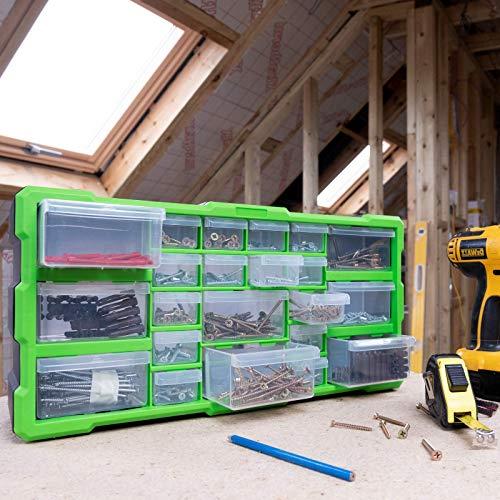 Dihl TB-DRW22 22 Multi Drawer Parts Storage Cabinet Unit Organiser Home  Garage Tool Box Nail Screw DIY Craft Hobby, Large Medium, Black and Green,