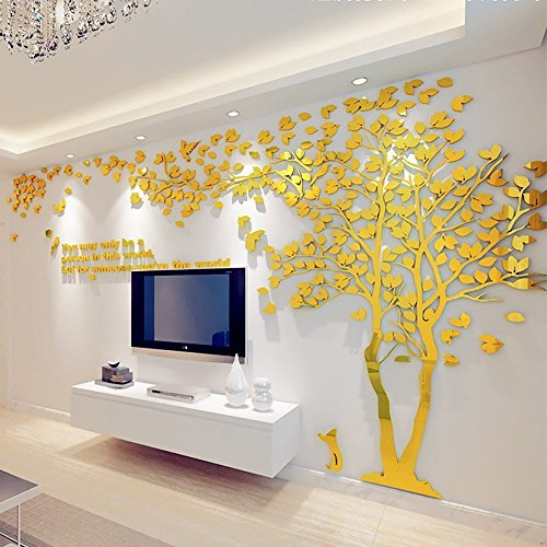 Colorfulworld 3D Giant Tree Crystal Painting Wall Sticker Living Bedroom Children's Room Sofa Background Decorations Decals (Gold-Right, XL)