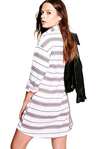 Weiß Damen Reema Printed Stripe Shirt Dress Weiß