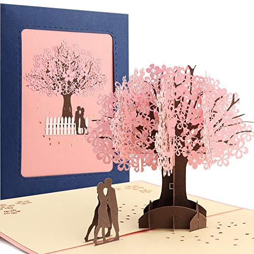 Hochzeitskarte, 3D Karte Hochzeit, Sporgo 3D Pop up Karte Glückwunschkarte Grußkarten für Hochzeit, Valentinstag, Hochzeitstag, Geburtstagskarte, Valentinstag Karte, Hochzeitsgeschenk