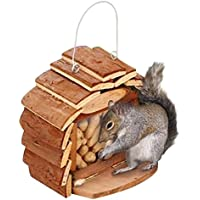 BAKAJI Mangiatoria Casetta Nido per Scoiattoli da Giardino in Legno con Gancio per Muro o Albero Dimensione 16 x 25 x 16 cm