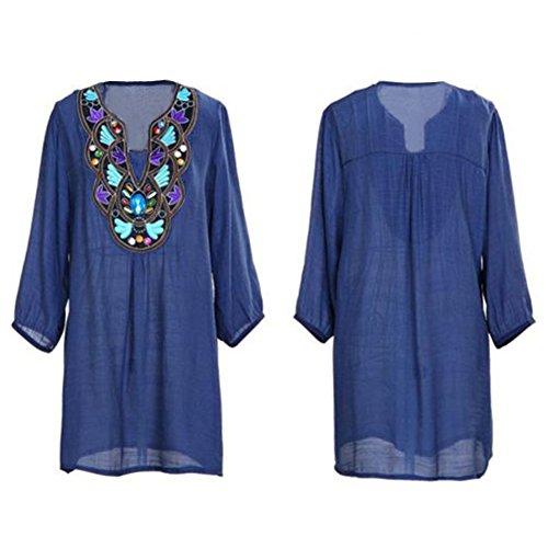 Eleery - Robe - Manches 3/4 - Femme Taille Unique Bleu - Bleu marine