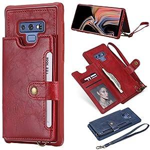 für Smartphone Samsung Galaxy Note 9 Hülle, Leder Tasche für Samsung Galaxy Note 9 Flip Cover Handyhülle Bookstyle mit Magnet Kartenfächer Standfunktion-Rot