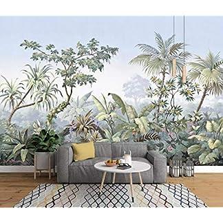 Muraon Papel tapiz personalizado Mural fotográfico 3D estilo europeo pintado a mano jardín madera bosque tropical plátano palmera mural retro, 200×140 cm (78.7 por 55.1 in)
