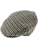 Harris Tweed Mens Beige Houndstooth Wool Blend Flat Cap