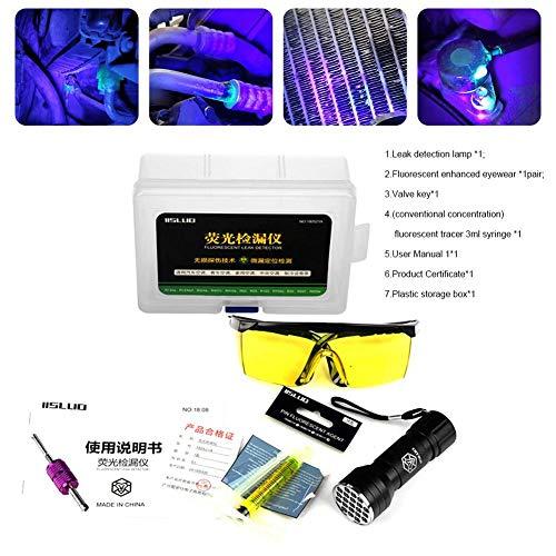 lingzhuo-shop Autoklimaanlage A C-System Dichtheitsprüfsatz Schutzbrille UV-Farbstoff Werkzeugsatz LED-UV-Taschenlampe Autoklimaanlage Reparaturwerkzeuge