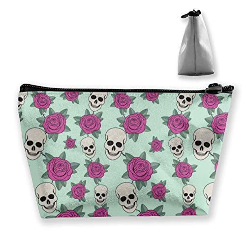 Womens Skull Rose (Skull and Rose Womens Travel Cosmetic Bag Portable Toiletry Brush Storage Print Pen Pencil Bags Accessories Sewing Kit Pouch Makeup Carry Case)