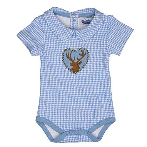 Eisenherz Trachten Babybody - Body Kurzarm mit Kragen, mit Hirschaplikation für Jungen in hellblau - EIN tolles Geschenk, in Größe 80