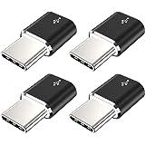 محول USB نوع C، JXMOX (4 حزم) ألومنيوم مايكرو USB إلى USB C كونفرت موصل شحن سريع متوافق مع سامسونج جالاكسي S10 S9 S8 بلس، نوت