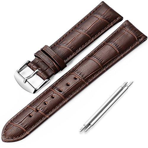 Correa de piel reloj iStrap Aligator grano Replacement Reloj Banda 18 mm 19 mm 20 mm 21 mm 22 mm plateado Pin hebilla suave pulsera - Negro Marrón