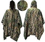 "Waterproof Raincoat Poncho,Evaline Hunting Camping Military and use with Emergency Grommet Corners for shelter use,Hooded Ripstop Festival Rain Poncho Military Camping Hiking-Army Style 55 ""Lx 40""W"