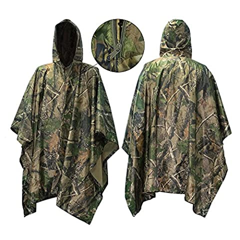 Waterproof Raincoat Poncho,Evaline Hunting Camping Military and use with Emergency Grommet Corners for shelter use,Hooded Ripstop Festival Rain Poncho Military Camping Hiking-Army Style 55