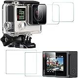 Films de Protection d'Ecran pour GoPro Hero 4 Noir / d'Argent (Écran et Objectif), AFUNTA HERO4 Waterproof Protecteur de GoPro en Verre Trempé Optique - Lot de 2 (4 Pièces)