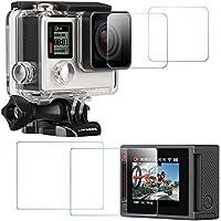 Pellicola Protettiva per GoPro Hero 4 Silver (Schermo e l'obiettivo), AFUNTA 2 Pack (4 pezzi) Antigraffio Impermeabile Temperato Glass Film Accessorio