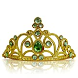 Katara 1682 - Prinzessin Diadem Krone, Verkleidung Kostüm, Fasching Karneval, Haarspange, Gold/Hellgrün