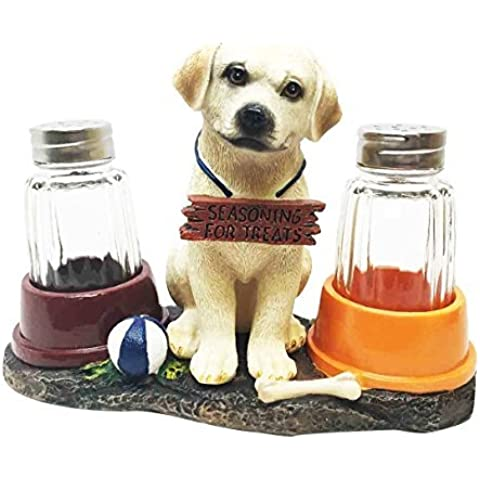 Adorable Golden Retriever Labrador Puppy Dog Salt and Pepper Shaker Set with Dog Treat Bowls Figurine Stand Holder Decor Sculpture as Kitchen Decor Table Centerpieces or Spice Racks Gift by Gifts & Decors