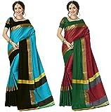 Art Decor Sarees Cotton Silk Combo Of 2 Saree With Blouse Piece (Sky Blue Red_Free Size)