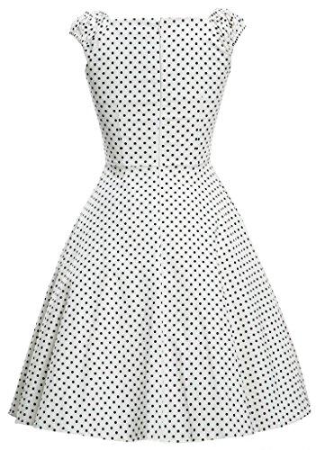 Eyekepper Robe Femme des annees 1950 Retro Capshoulder Party Robe trapeze Blanc