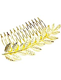 Beautiful Elegant Golden Leaf's Metal Hair Comb Party Wear For Girls And Womens Fancy Hair Comb.