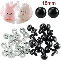 Sungpunet 20 pcs 18 mm Plastique Noir Yeux de sécurité pour Ours en Peluche/Poupées/Toy Animal/feutrage