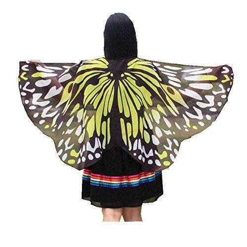 Schmetterling Kostüm, HLHN Erwachsene und Kinder Schmetterling Flügel Nymphe Pixie Poncho Kostüm Zubehör für Show / Daily / Party (I, Kinder (118 x 48cm))