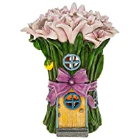 Solar Powered Illuminated Fairy House / Pink Bow Cottage / Dwelling Garden Ornament